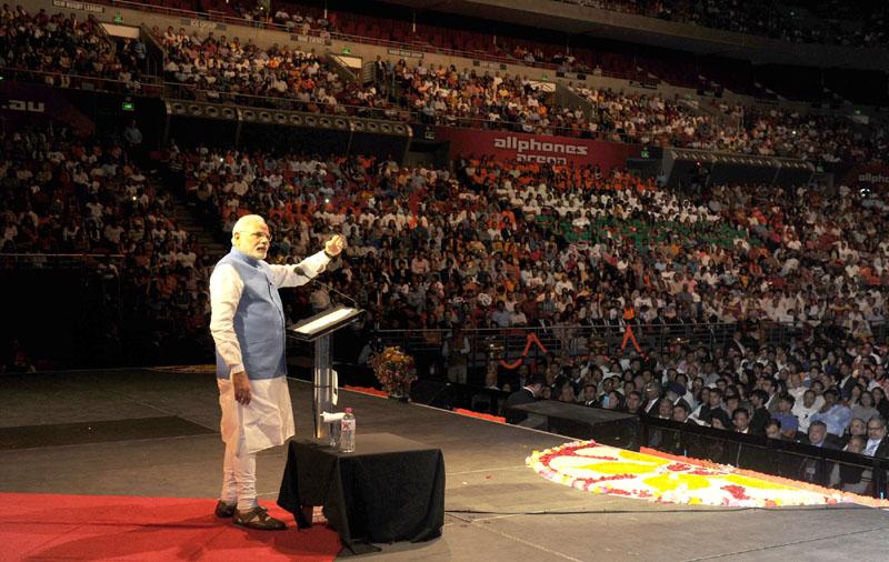 Modi addressing gathering in the Community Reception at Allphones Arena Sydney November 17 2014