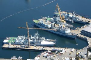 Aerial photograph of Canadian warships docked at CFB Esquimalt