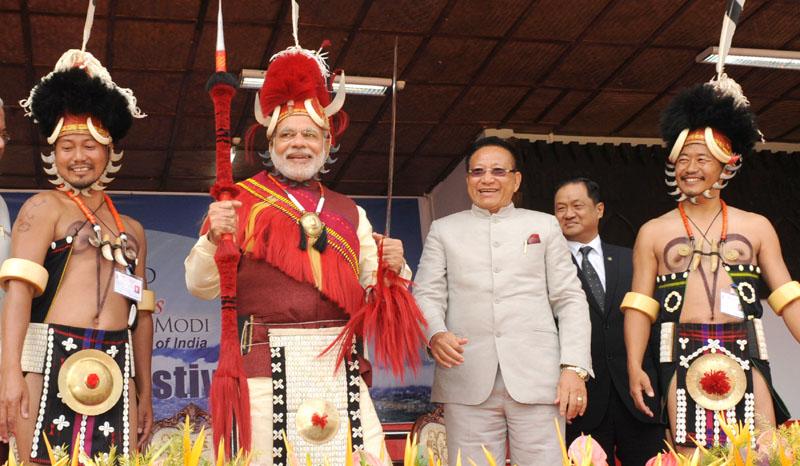 India PM Narendra Modi at the Hornbill Festival in Kohima Nagaland on Dec 01 2014