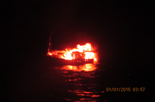 A view of the suspicious craft under fire on the high sea.