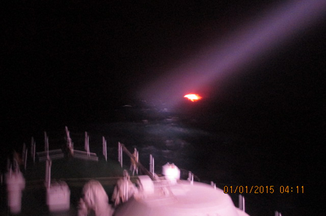 Indian Coast Guard Ship moving closer to the suspected boat in the high Sea.