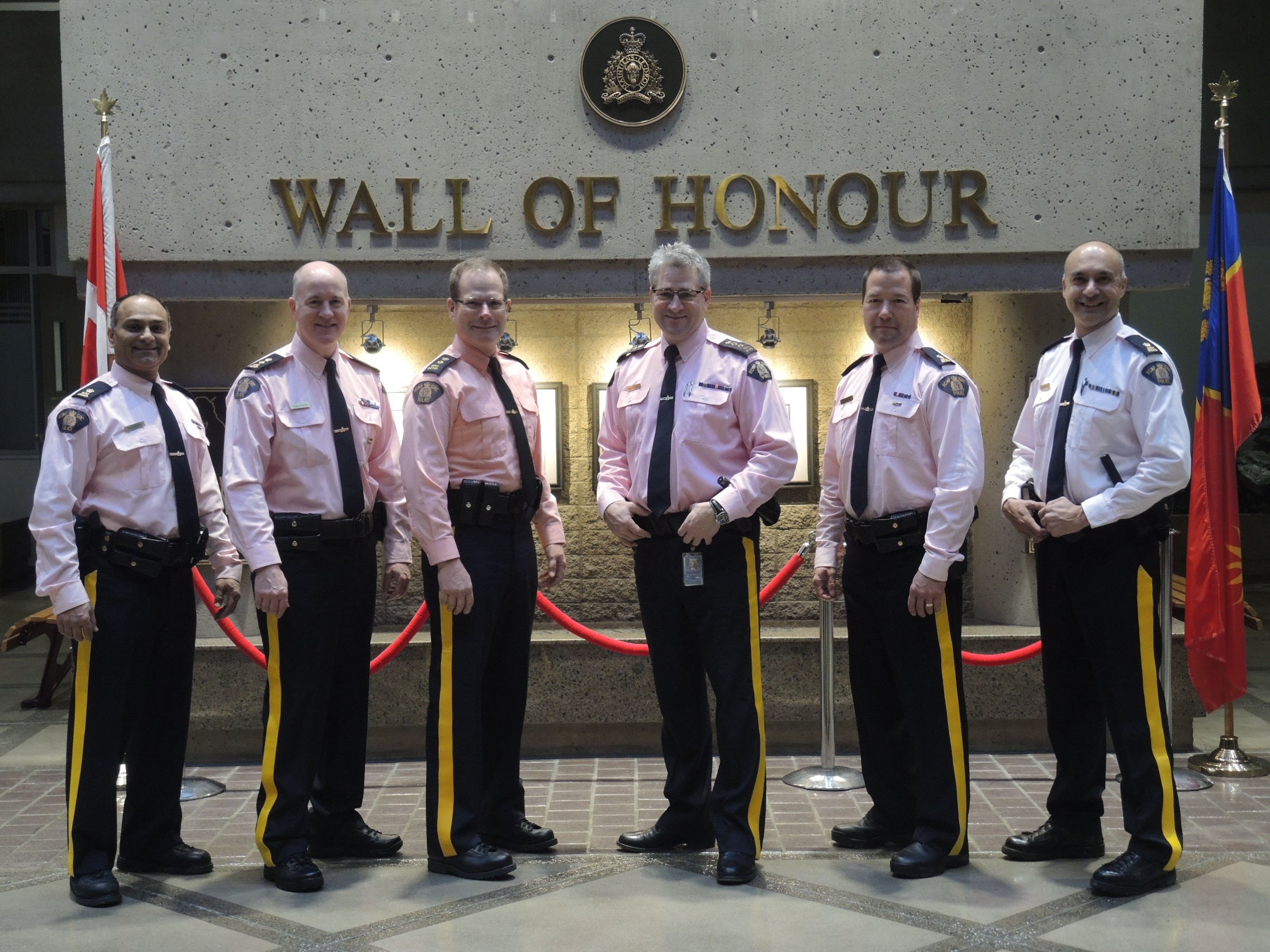 Surrey RCMP officers and staff wearing pink to show their support