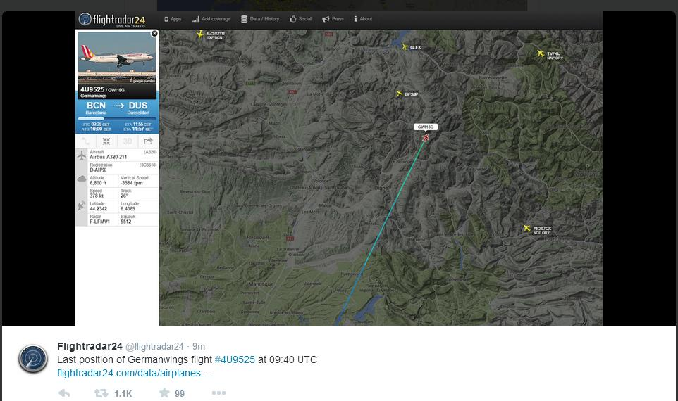 Last Known position of German Wings flight 4U9525 at 9.40 GMT (3.10pm IST) before it vanished from the radars. Photograb courtesy Flightradar24 Photo: IANS
