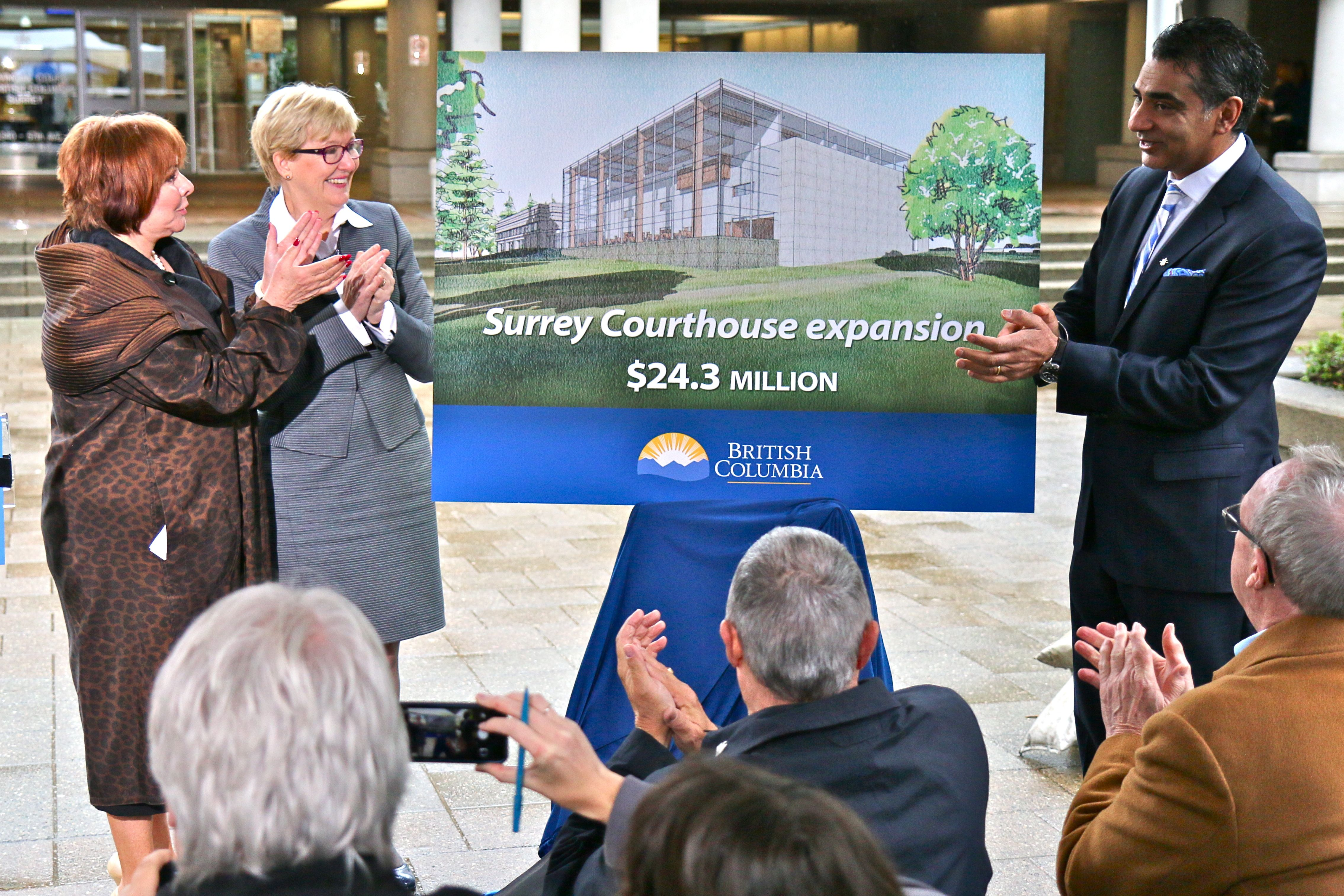 Surrey Mayor Linda Hepner, Attorney General and Minister of Justice, Susan Anton and Amrik Virk, Minister of Technology, Innovation and Citizen's Service and MLA for Surrey Tynehead, unveil the Surrey Courthouse expansion.  Photo: BC Government