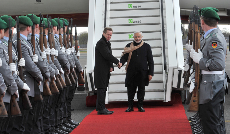 Indian Prime Minister Narendra Modi being received by the Chief of Department of Visits of Germany, Mr. Peter Sauer, at Berlin-Tegel Airport, Germany on April 13, 2015.