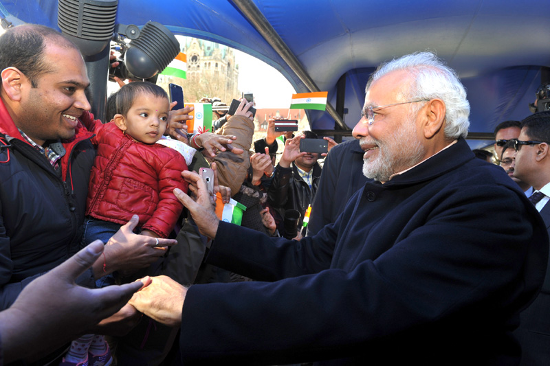 Indian Prime Minister Narendra Modi being welcomed by the members of the Indian community at Maritim Grand Hotel, in Hannover, Germany on April 12, 2015