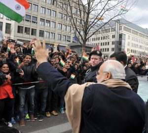 Indian Prime Minister Narendra Modi interacting with the people, on his arrival, at Berlin, in Germany on April 13, 2015..2