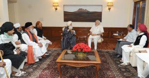 Senior leaders of Muslim Community calls on Indian PM Narendra Modi, in New Delhi on April 06, 2015.