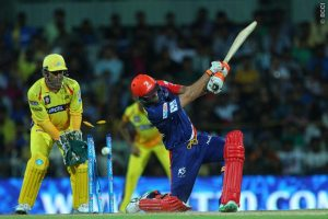 Nathan Coulter-Nile of the Delhi Daredevils is bowled by Ravichandran Ashwin of the Chennai Superkings during match 2 of the Pepsi IPL 2015 (Indian Premier League) between The Chennai Superkings and The Delhi Daredevils held at the M. A. Chidambaram Stadium, Chennai Stadium in Chennai, India on the 9th April 2015. Photo by: Ron Gaunt, IPL.