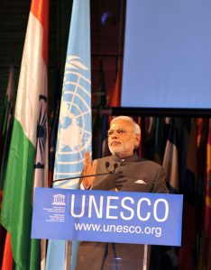 Indian Prime Minister Narendra Modi delivering his address, at UNESCO, in Paris on April 10, 2015.