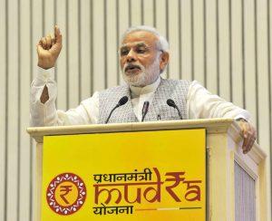 Indian Prime Minister Narendra Modi addressing at the launch of the Pradhan Mantri MUDRA (Micro Units Development and Refinance Agency) Yojana, in New Delhi on April 08, 2015.