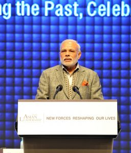 Indian Prime Minister Narendra Modi addressing at the 6th Asian Leadership Conference, in Seoul, South Korea on May 19, 2015.