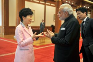 Indian Prime Minister Narendra Modi and the President of Republic of Korea, Ms. Park Geun-hye after making the Press Statements , in Seoul, South Korea on May 18, 2015.