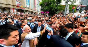 Narendra Modi interacting with the people near the Daxingshan Temple, Xi'an, Shaanxi Province, Province, in China on May 14, 2015.