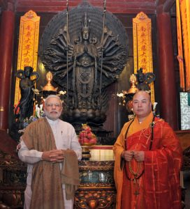 Narendra Modi visiting the Daxingshan Temple, Xi'an, Shaanxi Province, Province, in China on May 14, 2015.