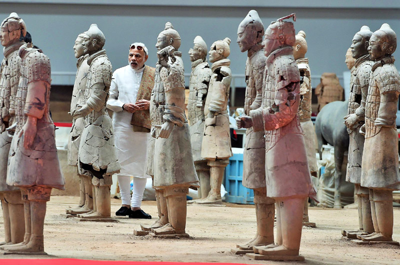 Narendra Modi visiting the Terracotta Warriors Museum, in Xi'an, Shaanxi, China on May 14, 2015.