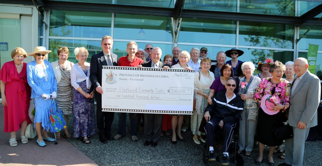 Surrey-Fleetwood MLA Peter Fassbender presents a cheque from the B.C. government to the Fleetwood Community Centre.  Also pictured:  MLA for Surrey-Panorama Marvin Hunt and Councillor Barbara Steele. Photo: Submitted