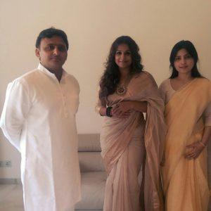 Actress Vidya Balan and Uttar Pradesh Chief Minister Akhilesh Yadav. Photo: IANS