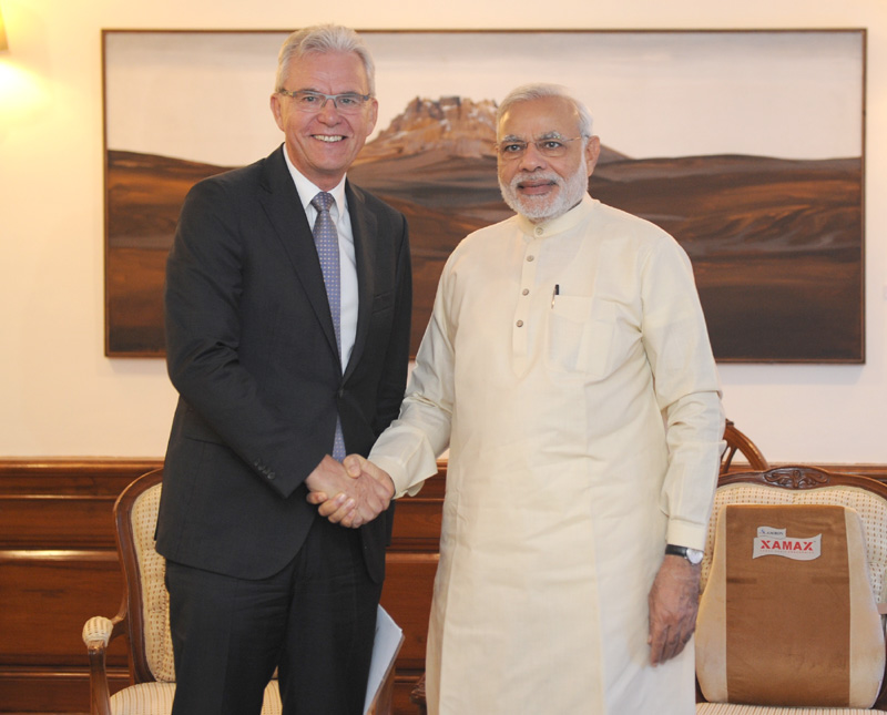 The CEO, Airbus Defence and Space, Mr. Bernhard Gerwert calling on Indian Prime Minister, Narendra Modi on June 30, 2015.