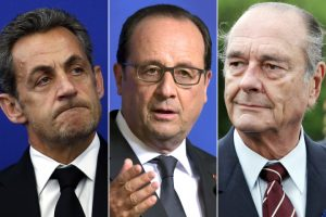 French President Francois Hollande, ex-presidents Nicolas Sarkozy and Jacques Chirac