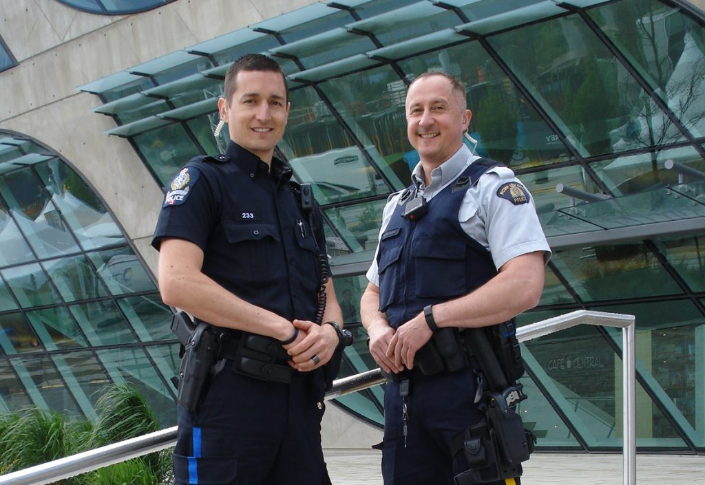 (L-R): Transit Police Constable Ryan Camping and Surrey RCMP Constable Carl Garlinski