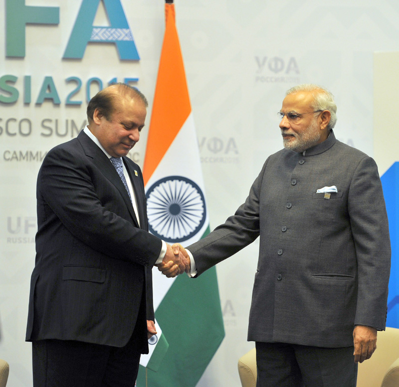 Indian Prime Minister Narendra Modi meeting the Prime Minister of Pakistan Nawaz Sharif, in Ufa, Russia on July 10, 2015.