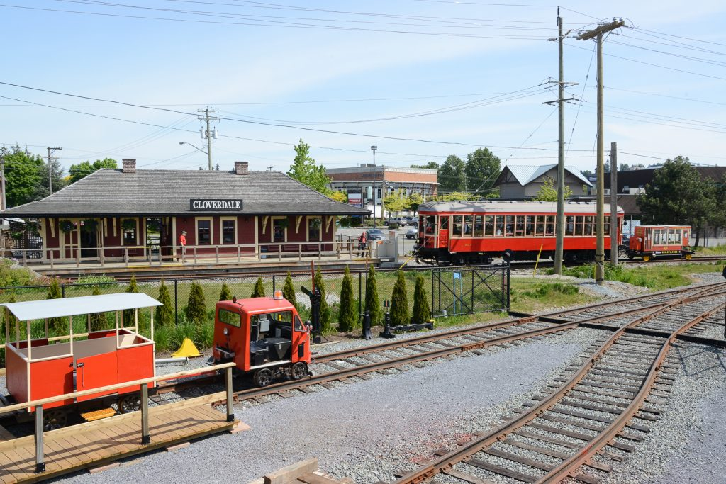 Overview of the Cloverdale Station, Car 1225 and the Speeder with carts. Photo: Ray Hudson