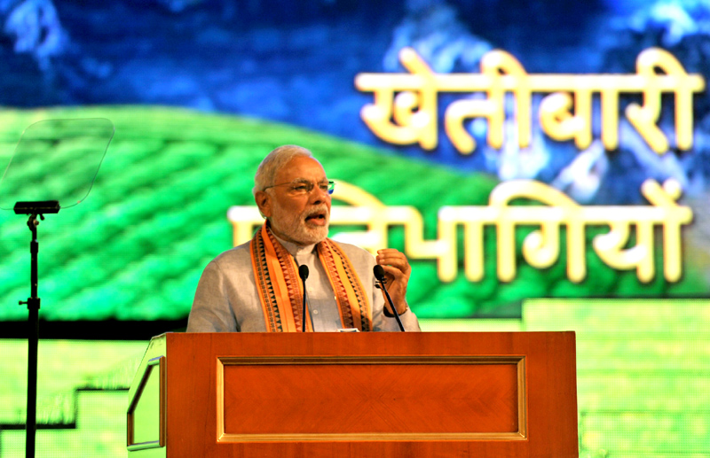 Indian Prime Minister Narendra Modi addressing the gathering at the Workshop of Agriculture Cooperation, in Dushanbe, Tajikistan on July 13, 2015.