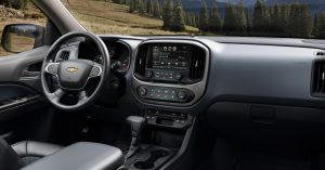 Blending cues from its bigger brother Silverado with a style all its own, the interior of the 2015 Chevrolet Colorado is comfortable, cleverly equipped and well connected.