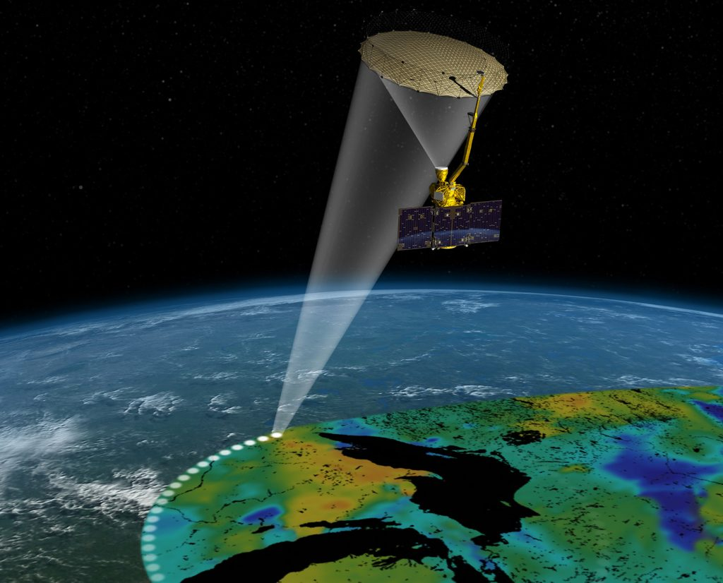 A graphic representation on how NASA collects data from Earth.  (Photo by NASA)