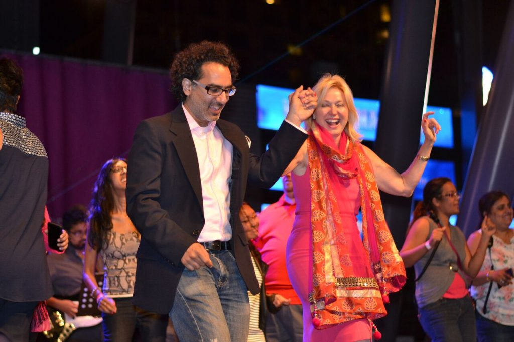 Bonnie Crombie, mayor of Mississauga city, dances to a Bollywood number