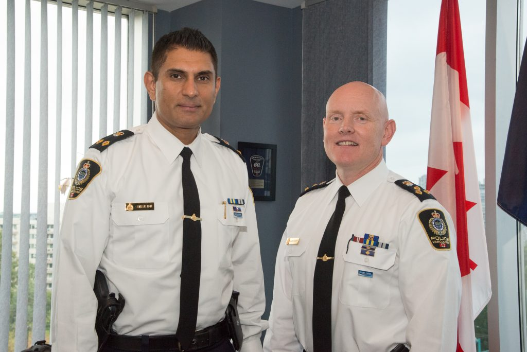VPD Chief Adam Palmer with his Deputy Steve Rai.