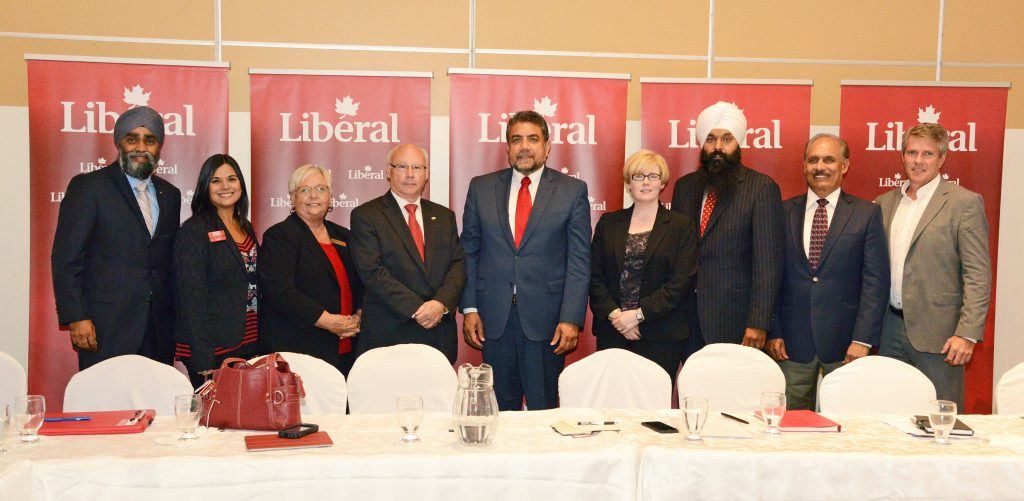 Liberal candidates met with the media in Surrey, from left, Harjit Sajjan Vancouver South, Jessie Adcock Port Moody-Coquitlam, Joy Davies South Surrey-White Rock, Ken Hardie Fleetwood- Port Kells, Sukh Dhaliwal Surrey-Newton, Carla Qualtrough Delta, Randeep Sarai Surrey Centre, Jati Sidhu Mission-Matsqui-Fraser Canyon, John Aldag Cloverdale –Langley City. Photo: Ray Hudson