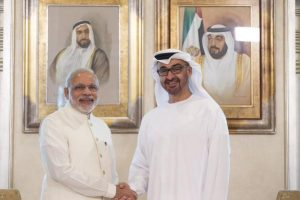 Mohamed bin Zayed welcomes India's PM narendramodi during a bilateral meeting held at Emirates Palace