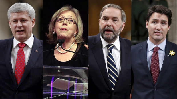Stephen Harper, NDP Leader Tom Mulcair, Liberal Leader Justin Trudeau and Green party Leader Elizabeth May