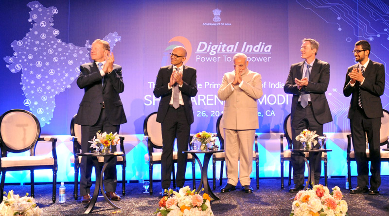 Indian Prime Minister Narendra Modi with Shri Satya Nadella, Shri Sundar Pichai and others, at the stage for Digital India Dinner, in San Jose, California on September 26, 2015.