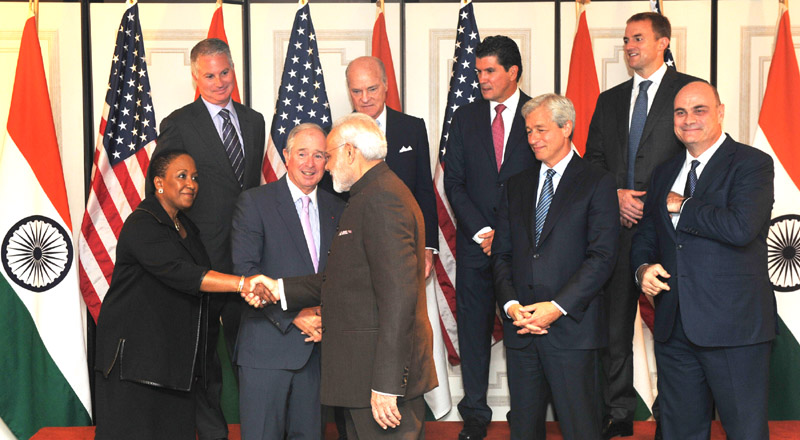 Indian Prime Minister Narendra Modi meeting the participants of Roundtable meeting on Financial Sector, at New York on September 24, 2015.