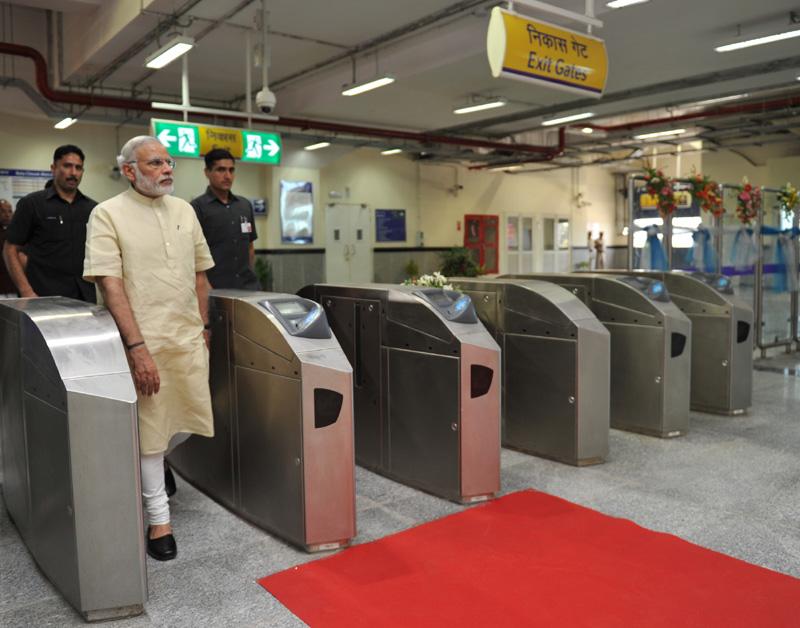 Indian Prime Minister Narendra Modi during the inauguration of the Badarpur-Faridabad Metro Line, at Faridabad on September 06, 2015.