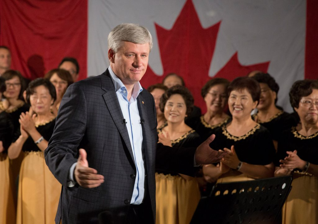 Prime Minister Stephen Harper announces new support for single and widowed seniors during an event in North Vancouver, British Columbia, September 15, 2015. CPC Photo by Jason Ransom