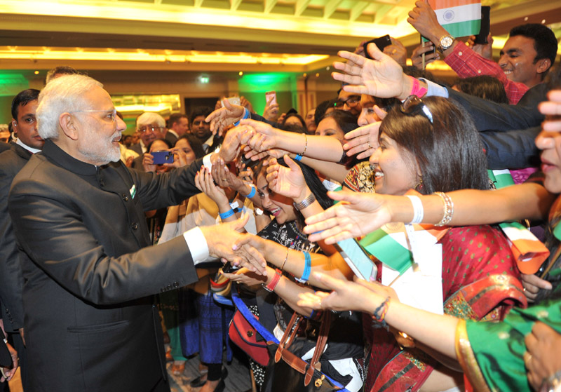 Indian Prime Minister  Narendra Modi interacting with the people from Indian Community at the Community Reception, at Dublin, Ireland on September 23, 2015.