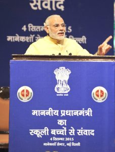 Indian Prime Minister Narendra Modi addressing during his interaction with school children on eve of the Teacher's Day, at Manekshaw Centre, in New Delhi on September 04, 2015.