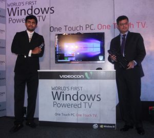 New Delhi: (L to R) Videocon technology head Akshay Dhoot and Microsoft Director (Windows Business Group) Vineet Durani during the launch of Windows 10 powered LED TV in New Delhi on Oct 28, 2015. (Photo: IANS)