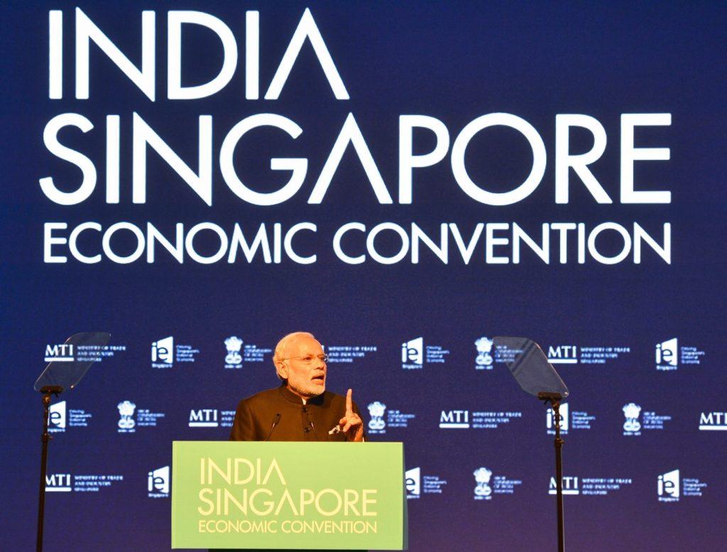 Singapore: Prime Minister Narendra Modi addresses at the India-Singapore Economic Convention, in Marina Bay Sands Convention Centre, Singapore on Nov. 24, 2015. (Photo: IANS/PIB)