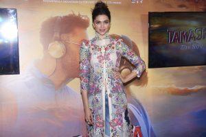 Mumbai: Actress Deepika Padukone during the celebration of music of film Tamasha, in Mumbai on Oct. 31, 2015. (Photo: IANS)