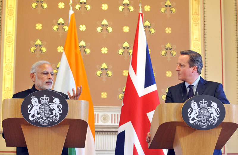 Indian Prime Minister,  Narendra Modi delivering his statement to the media with the Prime Minister of United Kingdom (UK), Mr. David Cameroon, at Foreign and Commonwealth Office, in London on November 12, 2015.