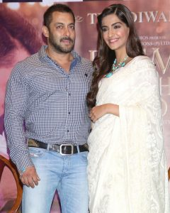 New Delhi: Actors Salman Khan and Sonam Kapoor during a press conference organised to promote his upcoming film `Prem Ratan Dhan Payo` in New Delhi on Nov. 4, 2015. (Photo: Amlan Paliwal/IANS)