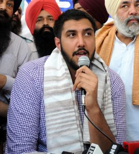 Amritsar: NBA basketball player Gursimran `Sim` Bhullar during a press conference in Amritsar on May 5, 2015. (Photo: IANS)