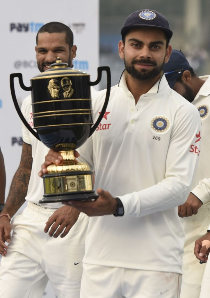 New Delhi: Indian cricketer Virat Kohli during the presentation ceremony after the Fourth and the final test match between India and South Africa at the Feroz Shah Kotla Stadium in New Delhi on Dec. 7, 2015. India won. (Photo: IANS)
