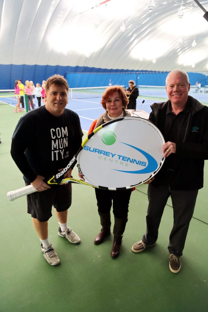 L-R: Surrey Tennis Centre's Larry Jurovich, Mayor Linda Hepner, Councillor Bruce Hayne