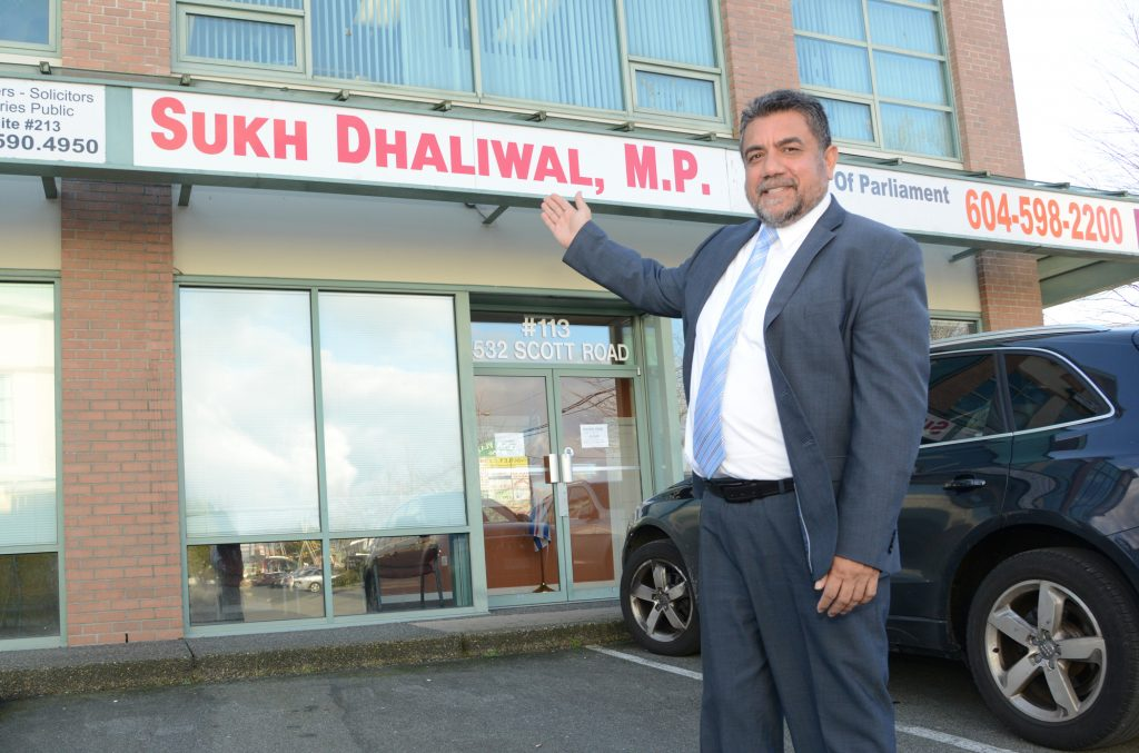 Surrey Newton MP Sukh Dhaliwal stands before the office he occupied during his previous terms in parliament, although a new location, more centrally situated in the riding will be opened soon. Photo: Ray Hudson
